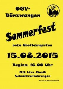 Plakat Sommerfest 2015 OGV Bünzwangen e.V.