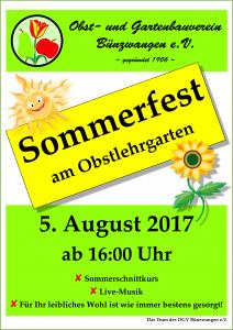 Plakat Sommerfest OGV Bünzwangen 2017