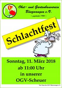 OGV Bünzwangen e.V. Plakat Schlachtfest 2018