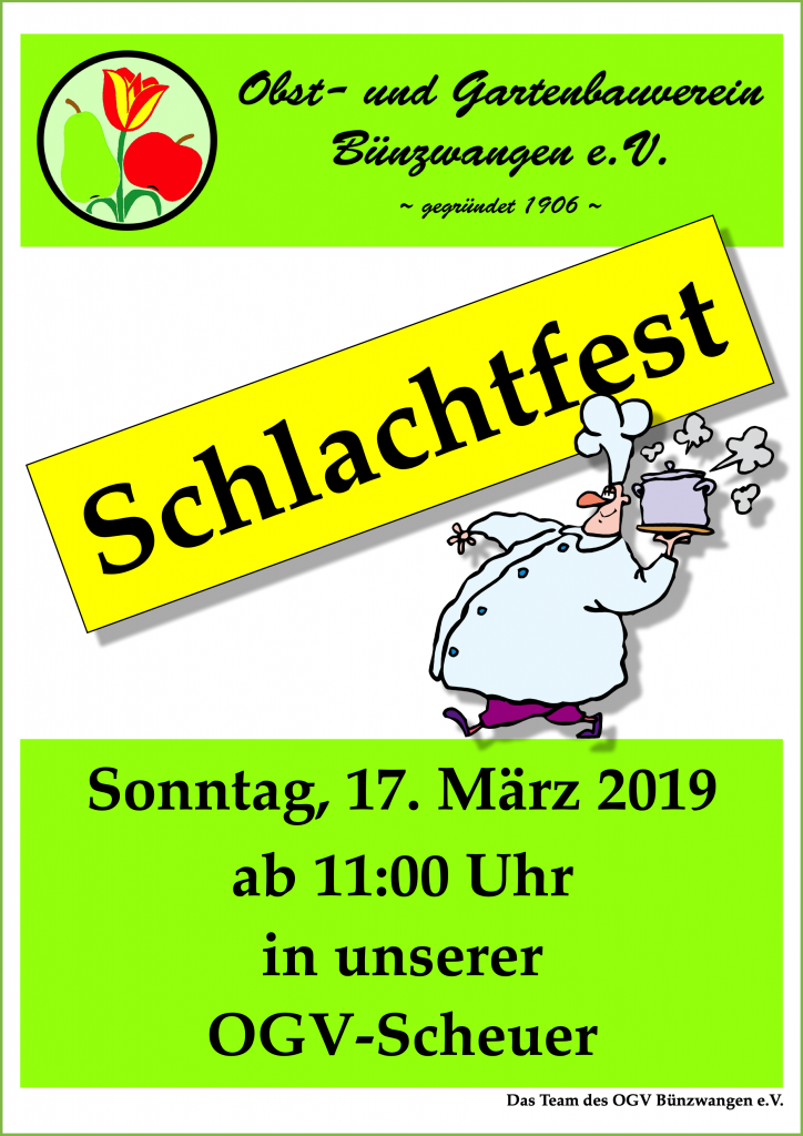 OGV Bünzwangen e.V. Plakat Schlachtfest 2019