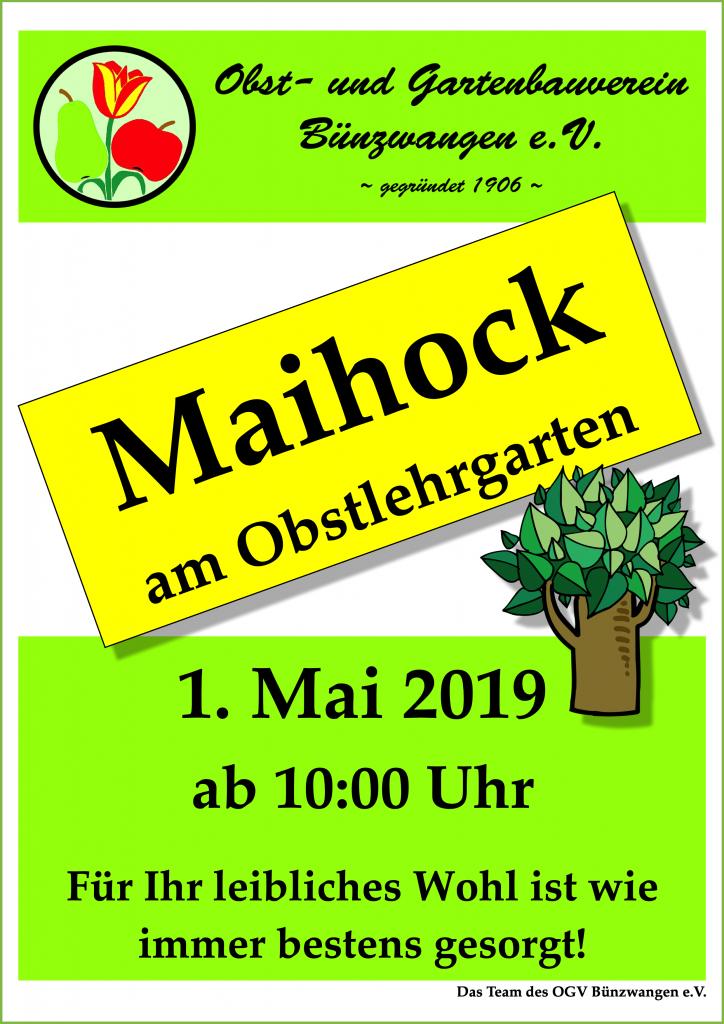 OGV Bünzwangen e.V. Plakat Maihock 2019